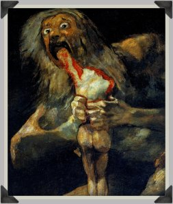 Painting of Saturn devouring his son.