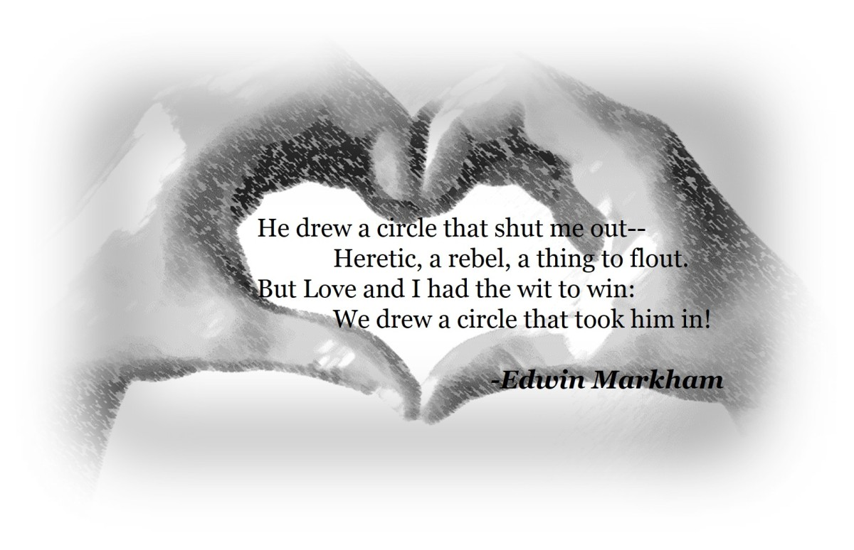 image of hands forming shape of heart with Outwitted poem by Edwin Markham