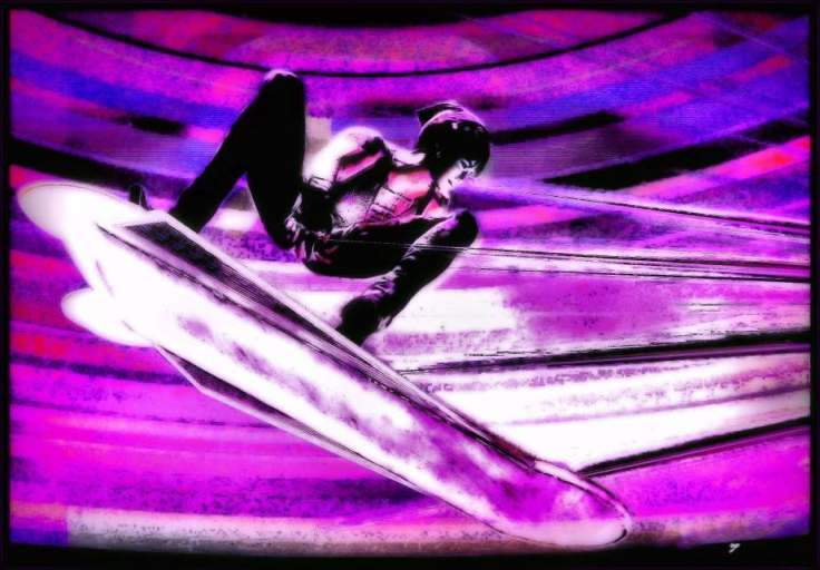 Digital; painting of a virtual boy flying on a hoverboard in purples