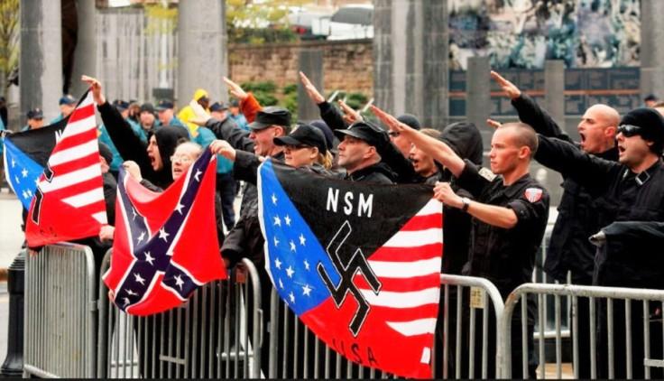 A photograph of a white neo-nazi ralley