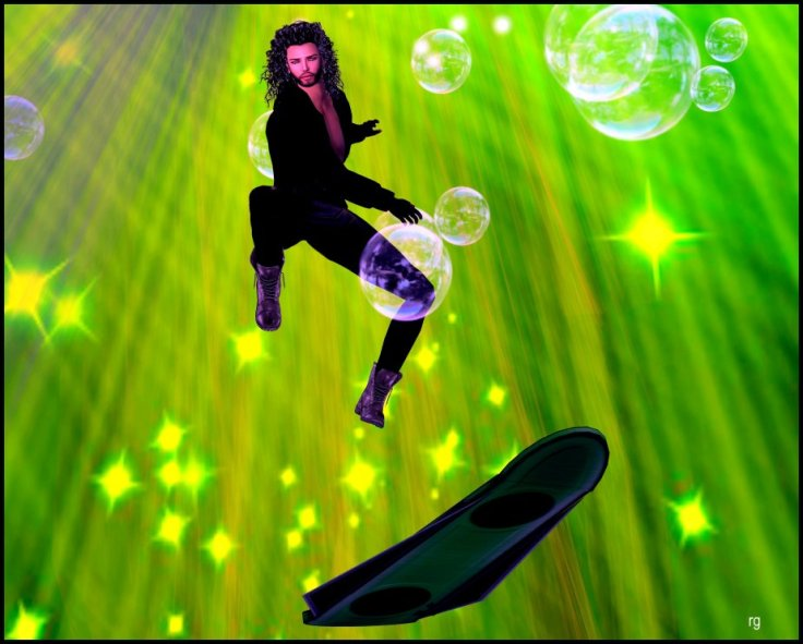 A digital painting based on an avatar in virtual reality flying a hover-board