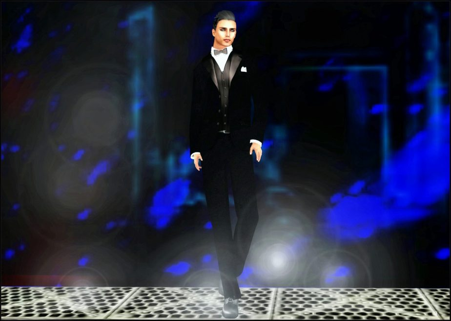 An avatar dressed in the formal male attire of the 1920's standing on a metal platform against a blue backdrop