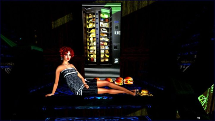 An illustration for Hullaba Lulu on Teagan's Books that depicts a young women sitting in front of an automat vending machine surrounded by cheeseburgers