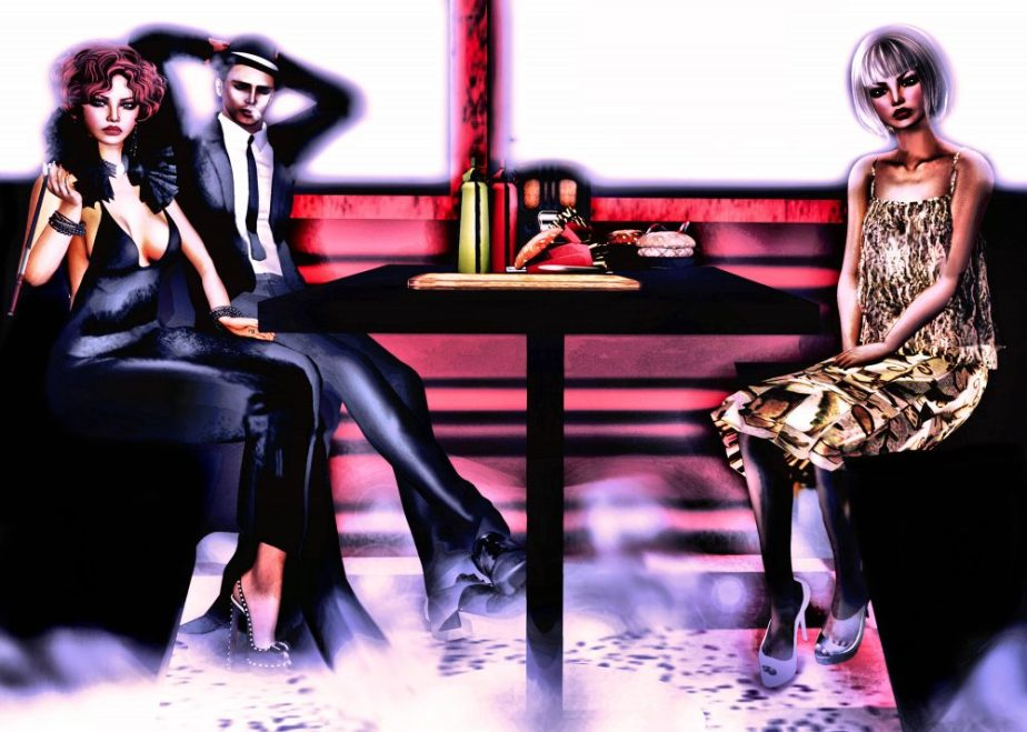 Illustration depicts the characters of Hullaba Lulu in a diner