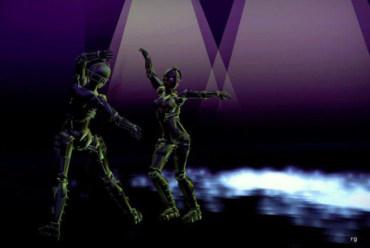 Virtual Reality image of dancing robots