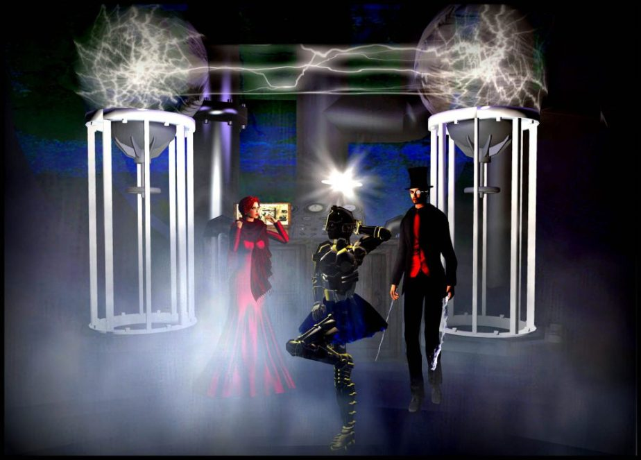 Virtual reality, illustration showing Pearl, Tesla and a danciing Robot in a Tutu