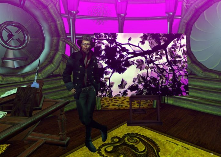 A Virtual Reality capture of an avatar dressed in the character of Cornelis Drebbel poseing with a dgital painting named Lavender
