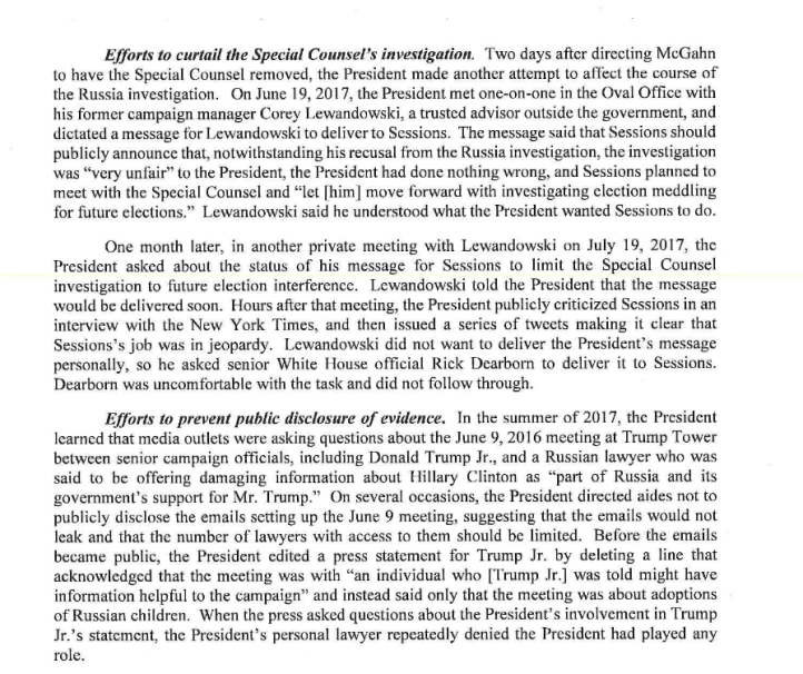 A Page from Robert Mueller's Report to Congress