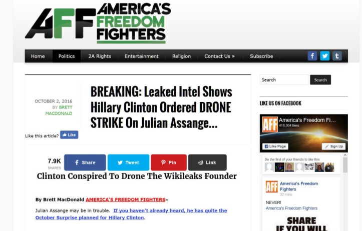 A second screenshot of the 2016 'Wikileak' that Hillary ordered a drone strike on Julian Assange