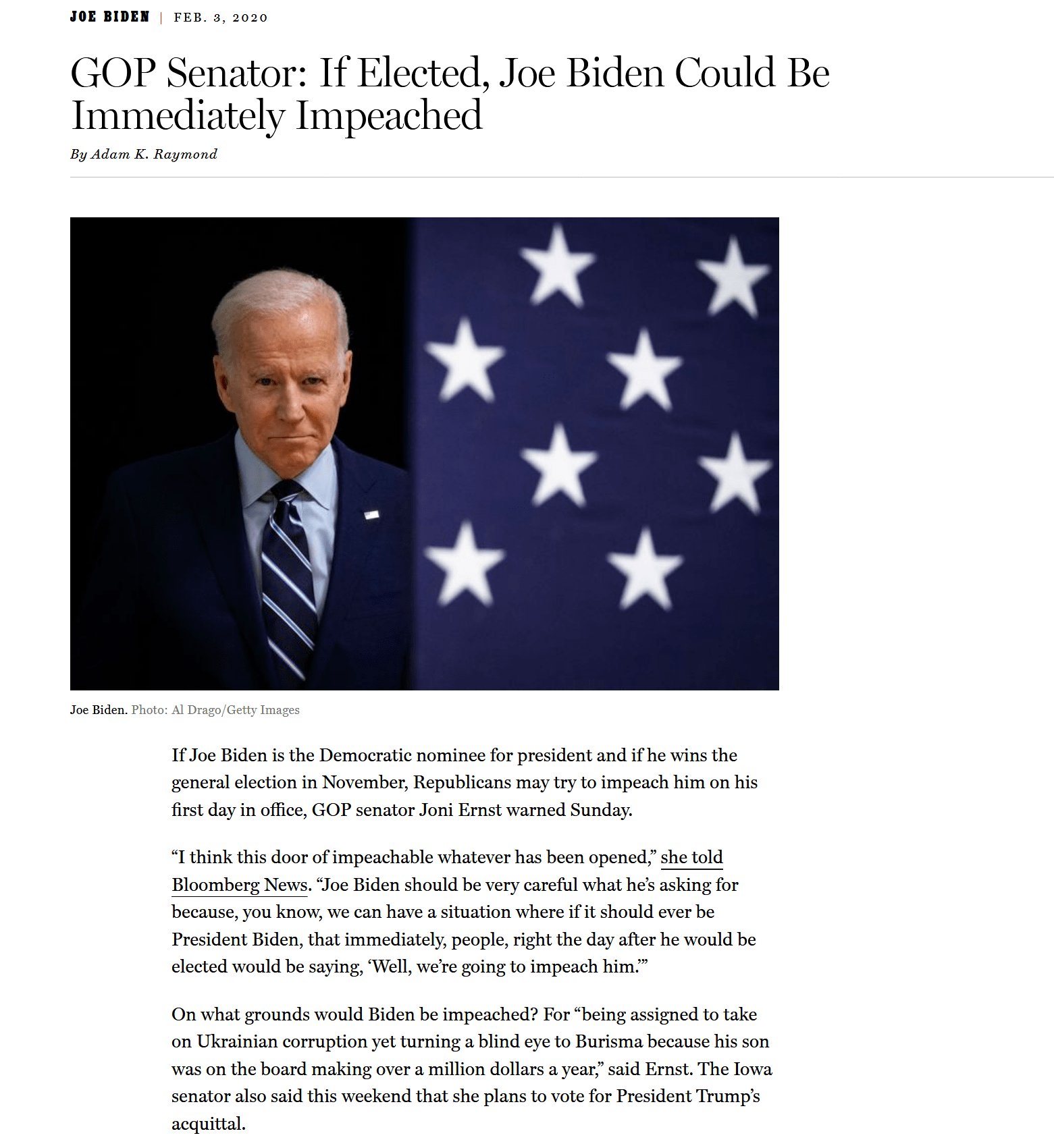 Republican Senator threatens to impeach Joe Biden